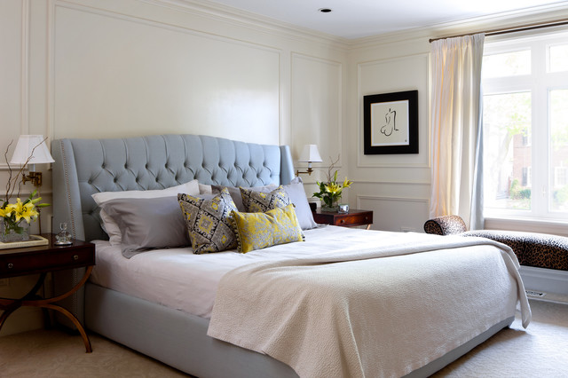 king upholstered headboard Bedroom Traditional with beige carpet blue and