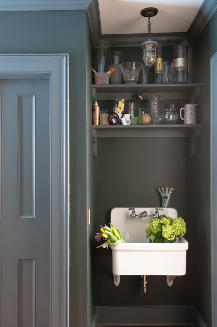 kohler farmhouse sink Laundry Room Traditional with blue trim blue walls