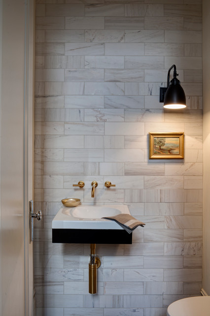 kohler purist Powder Room Transitional with powder room small painting