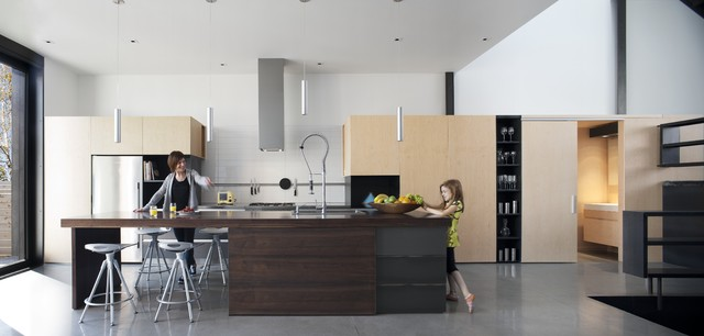 kraus faucets Kitchen Modern with clean lines concrete floor