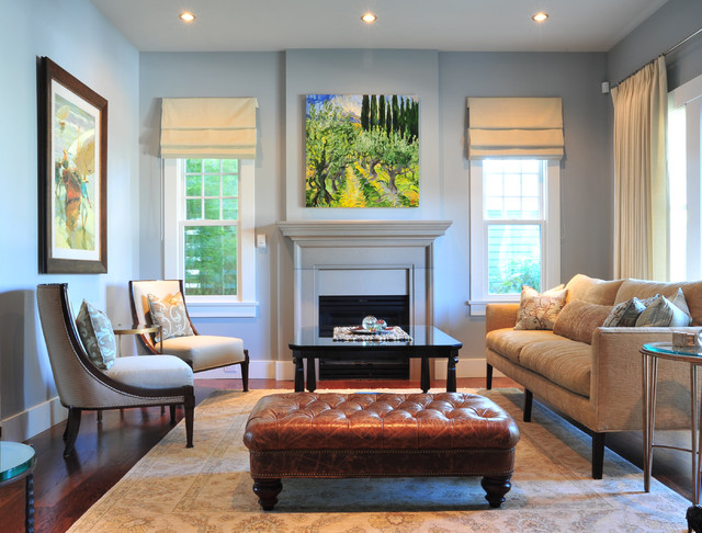 Kravet Furniture Living Room Traditional with Baseboards Blue Walls Ceiling