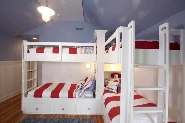 L Shaped Bunk Beds Kids Traditional with Beadboard Bedroom Blue Blue