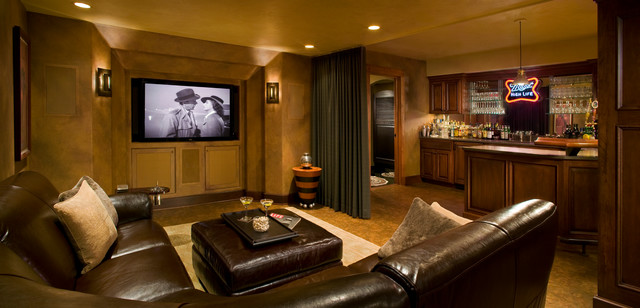 l shaped couches Basement Traditional with bar brown leather curtain