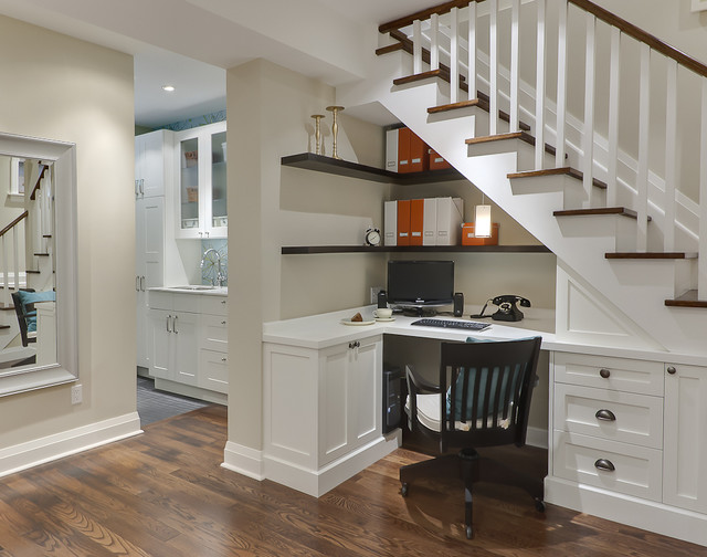 l shaped desk ikea Home Office Traditional with baseboards basement built in