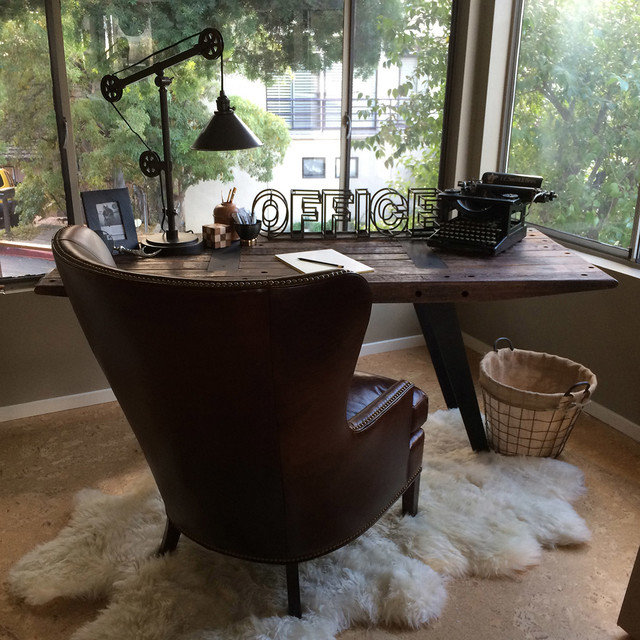 Lambskin Rug Spaces Transitional with Black Metal Table Lamp