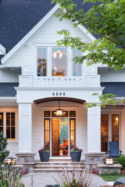 Landmark Shingles Entry Traditional with Balcony Covered Porch Deck