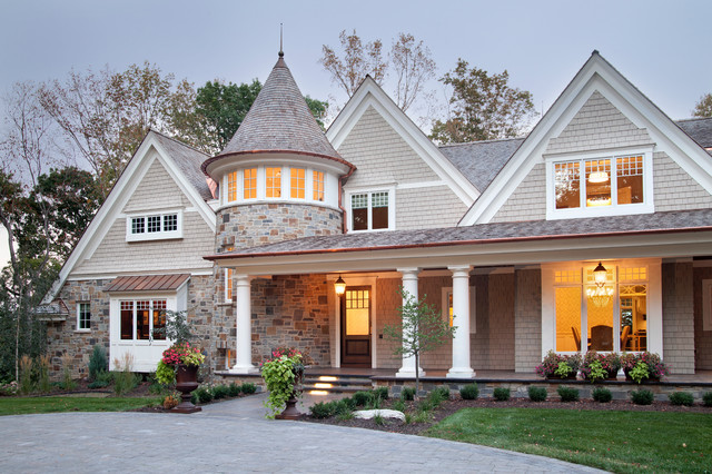 Landmark Shingles Exterior Victorian with Bay Window Covered Porch