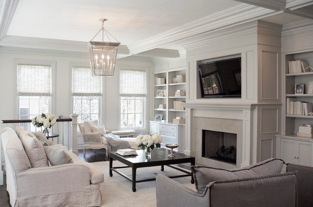 lantern pendant light Family Room Transitional with black coffee table coffered