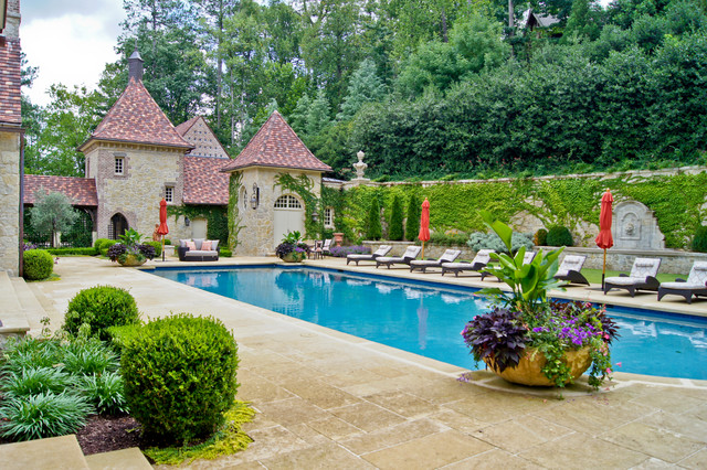 Large Planter Pots Pool Traditional with Exterior Folly Fountain Hedge