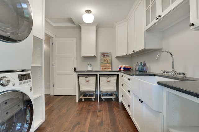 Laundry Hamper Laundry Room Transitional with Apron Sink Bar Faucet