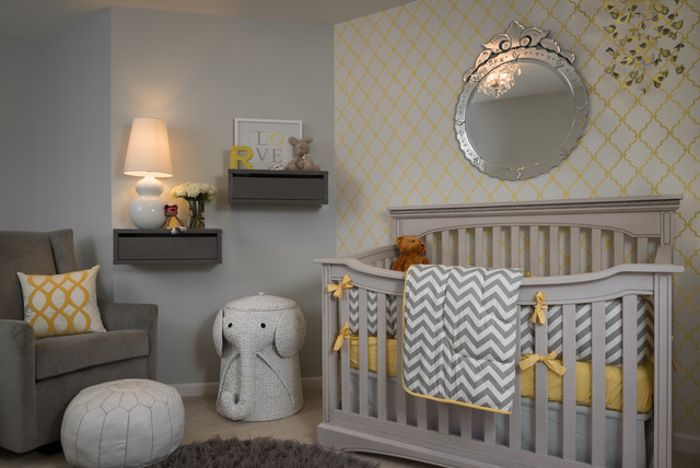 Laundry Hamper Nursery Transitional with Accent Wall Baby Bedding