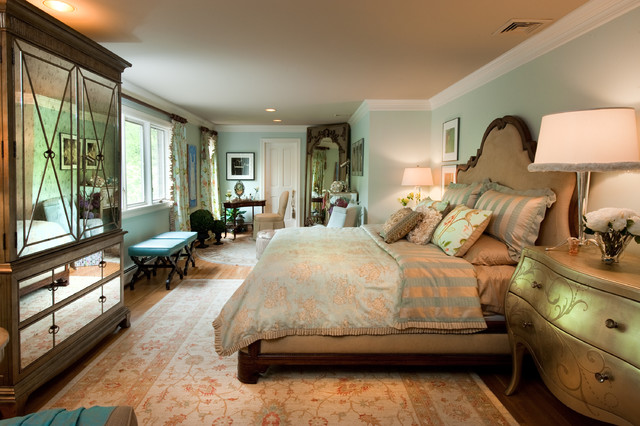 Leaner Mirror Bedroom Traditional with Area Rug Armoire Bedside