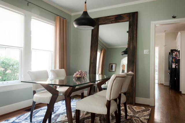 Leaner Mirror Dining Room Contemporary with Area Rug Large Leaning