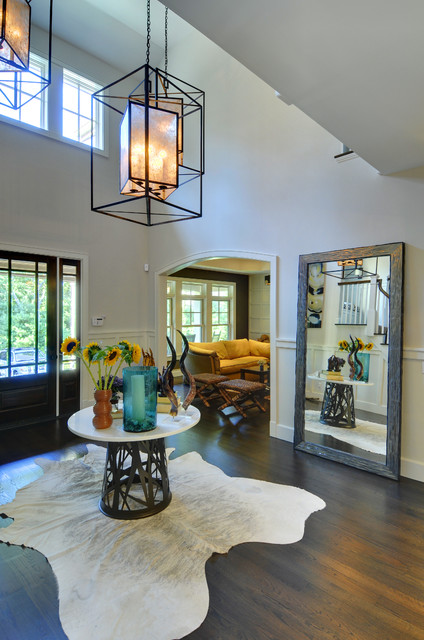 leaner mirror Entry Contemporary with animal skin rug arched