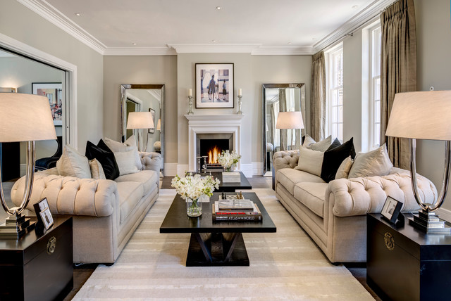 Leaner Mirror Living Room Transitional with Black Coffee Table Black