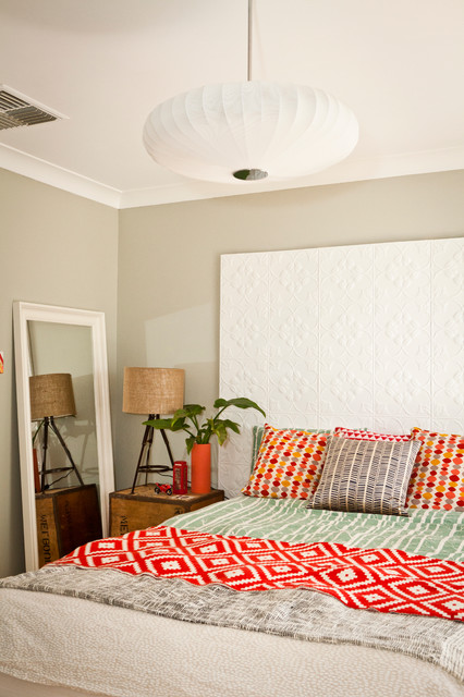 Leaning Floor Mirror Bedroom Eclectic with Bed Beige Wall Colorful