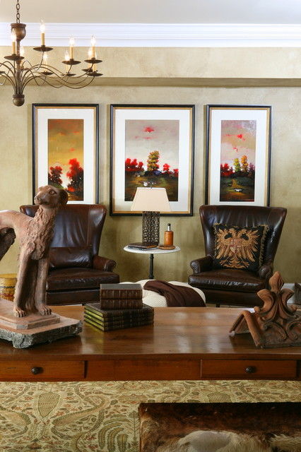 Leather Wingback Chair Home Office Traditional with Area Rug Chandelier Crown1
