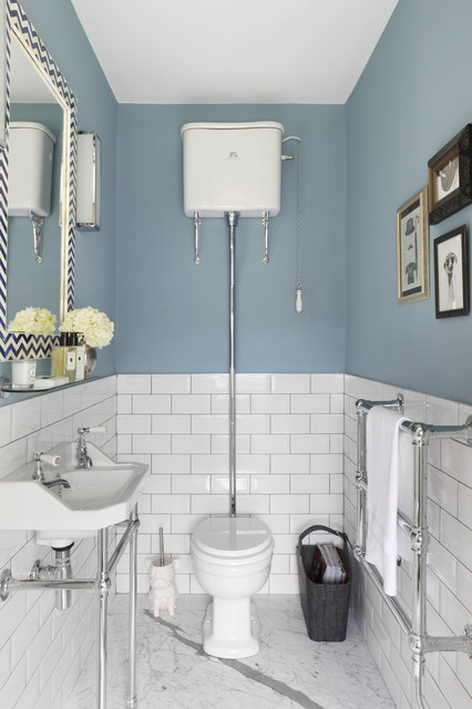 Lefroy Brooks Powder Room Traditional with Blue Bathroom Blue Cloakroom