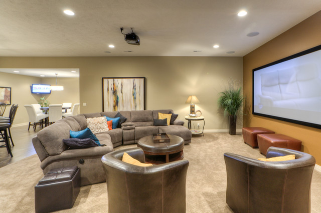 Legacy Homes Omaha Home Theater Traditional with Beige Carpet Beige Wall