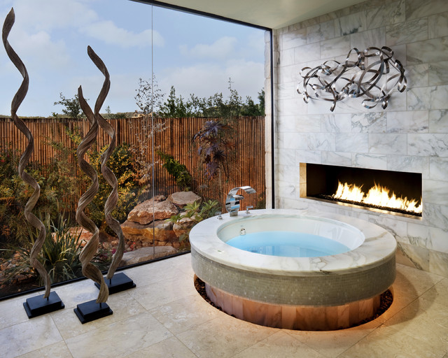 Lennox Fireplaces Bathroom Contemporary with Artwork Fireplace Glass Wall