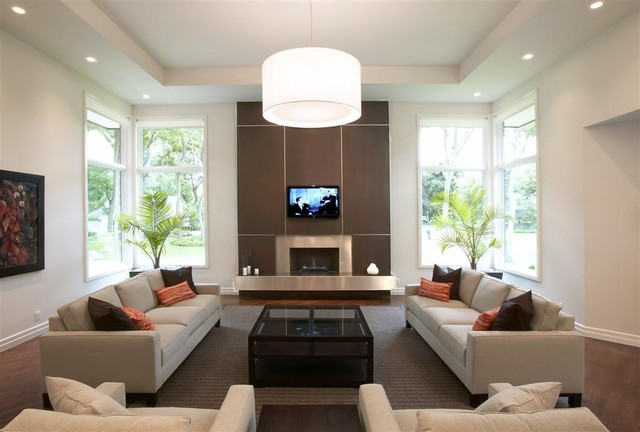 Lennox Fireplaces Living Room Contemporary with Area Rug Artwork Brown