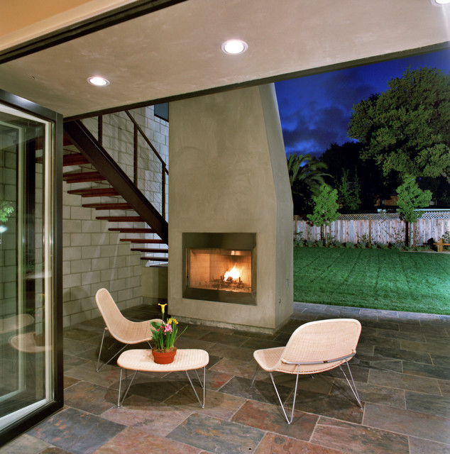 Lennox Fireplaces Patio Contemporary with Back Yard Cable Railing