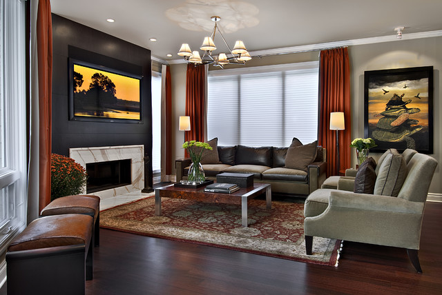 Levolor Cellular Shades Family Room Contemporary with Accent Wall Chandelier Chandelier