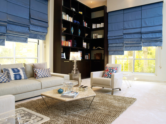 Levolor Cellular Shades Living Room Contemporary with Blinds Blue Chevron Pillow