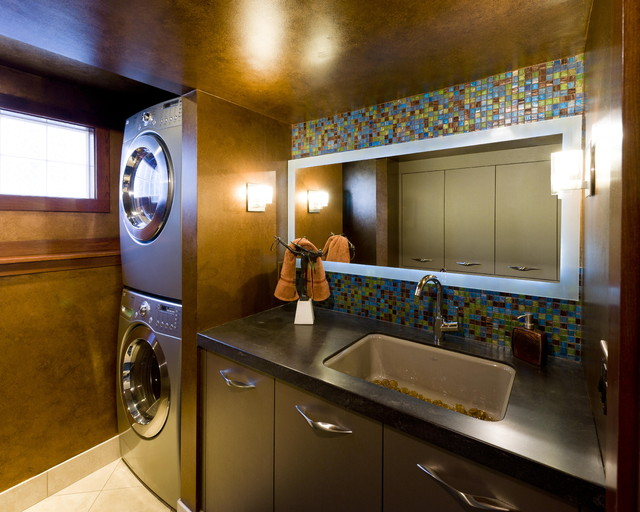 Lg Stackable Washer Dryer Laundry Room Contemporary with Black Counter Dark Walls
