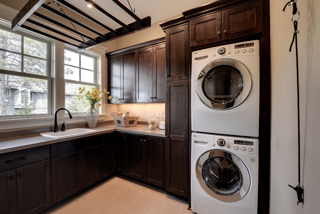 Lg Stackable Washer Dryer Laundry Room Traditional with Beige Countertop Corner Dark