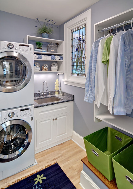 Lg Stackable Washer Dryer Laundry Room Traditional with Clean Clothing Rack Crisp