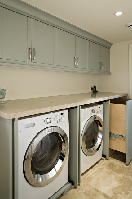 Limestone Countertops Laundry Room Transitional with Blue Cabinets Laundry Room