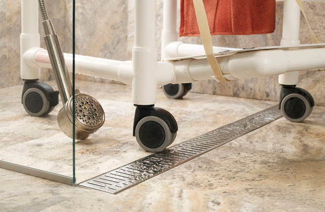Linear Shower Drain Bathroom with Accessible Barrier Free Channel