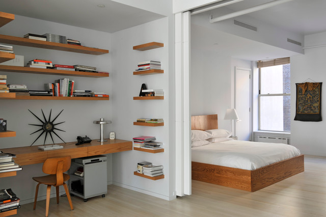 Loft Bed with Desk Underneath Bedroom Contemporary with Bookshelves Desk Nook Floating