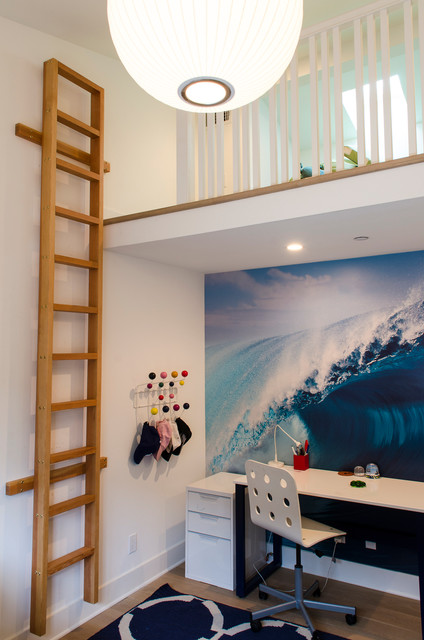 Loft Bed With Desk Underneath Kids Contemporary Boys Room Ladder