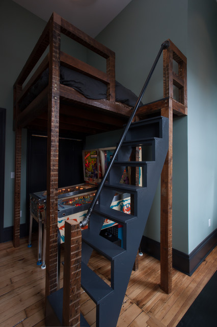 Loft Beds for Teens Bedroom Contemporary with Black Bedding Blue Blue