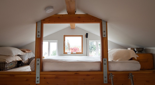 Lofted Bed Bedroom Eclectic with Knotty Pine Loft Bed
