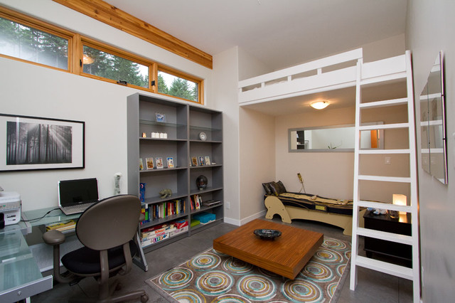 lofted bed Kids Transitional with alcove area rug Bedroom
