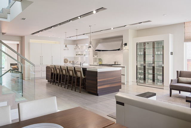loll designs Kitchen Contemporary with built-in glass shelves Condo
