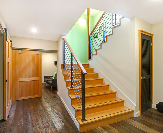 Louvered Closet Doors Staircase Contemporary with Barn Sliding Doors Basement
