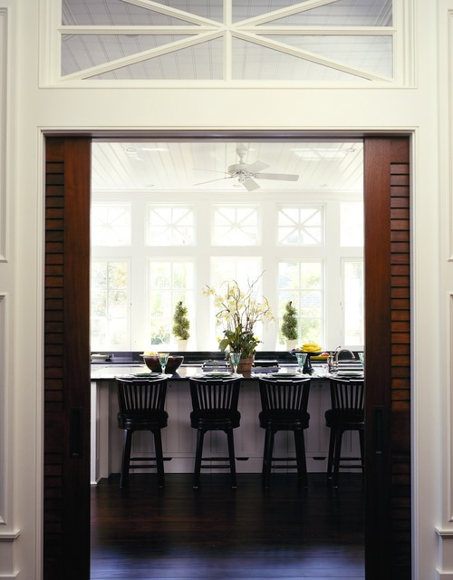 Louvered Doors Kitchen Traditional with Barstool Beadboard Ceiling Black