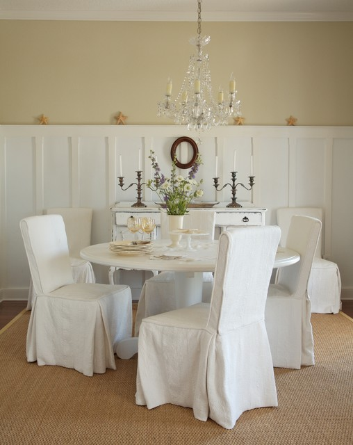 Love Seat Slip Covers Dining Room Shabby Chic with Antique Crystal Chandelier Candelabras