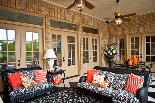 Loveseat Cover Patio Traditional with Beadboard Ceiling Black And