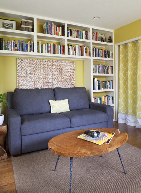 loveseat futon Home Office Transitional with area rug bookcase bookshelves