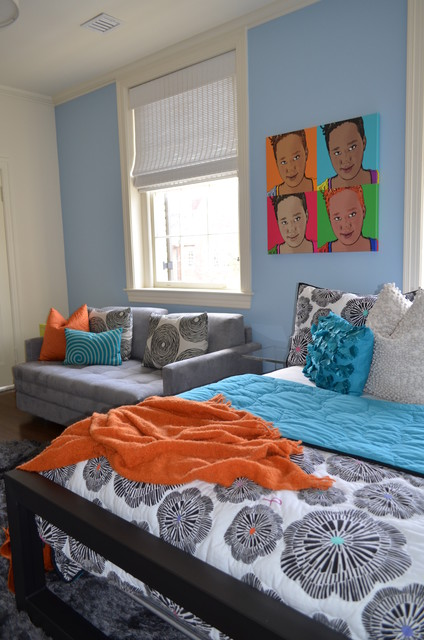 Loveseat Futon Kids Eclectic with Area Rug Artwork Float