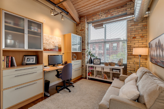 Low Bookcase Home Office Industrial with Beige Rug Beige Sofa