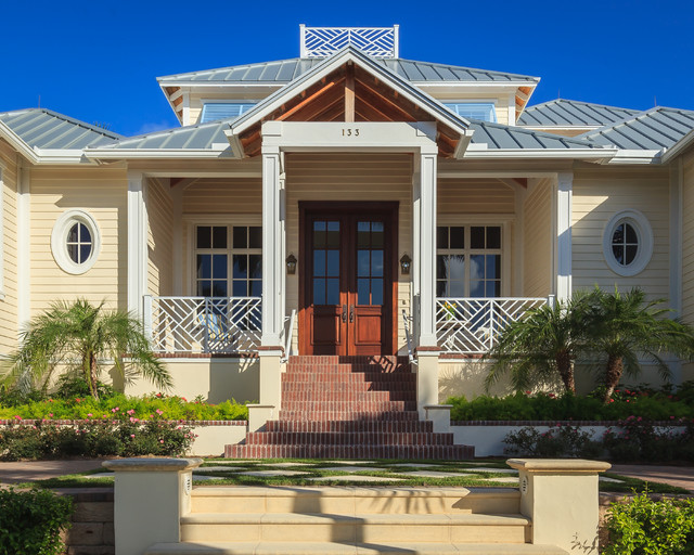 Lowes Lakeland Fl Exterior Tropical with Covered Porch Cream Cladding