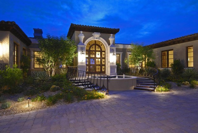 Lowes Shawnee Ok Exterior Mediterranean with Arch Driveway Fountain Front