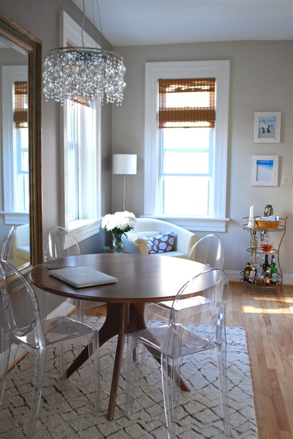 Lucite Chairs Dining Room Eclectic with Bamboo Shade Bar Crystal