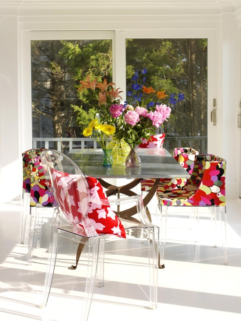 Lucite Chairs Dining Room Shabby Chic with Bold Color Bright Color